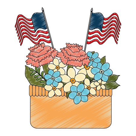 floral decoration with USA flags in basket vector illustration design Stock Vector - 101532486