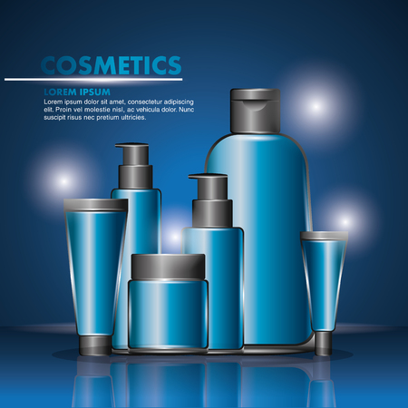 cosmetics beauty care products packages blue design vector illustration Illustration