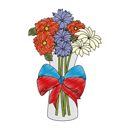 flowers decoration in vase with bow vector illustration design