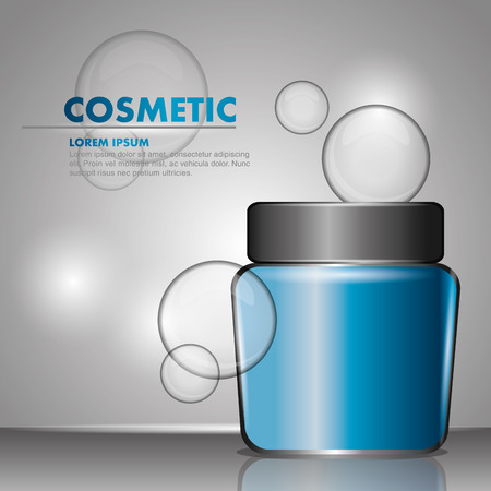 cosmetic body cream bubbles gray background vector illustration Illustration