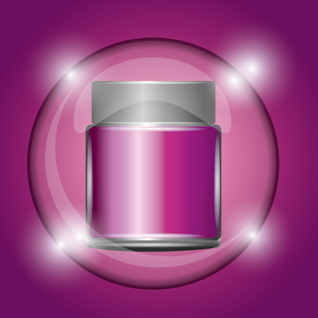 cosmetic container powder pink glowing background vector illustration Ilustrace