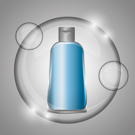 cosmetic bottle body skincare in bubble gray background vector illustration
