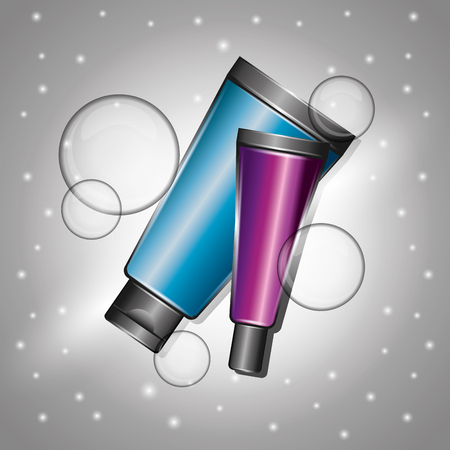 cosmetics cream tubes skincare template vector illustration