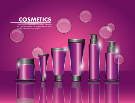 cosmetics packaging beauty bottle products set vector illustration Illustration
