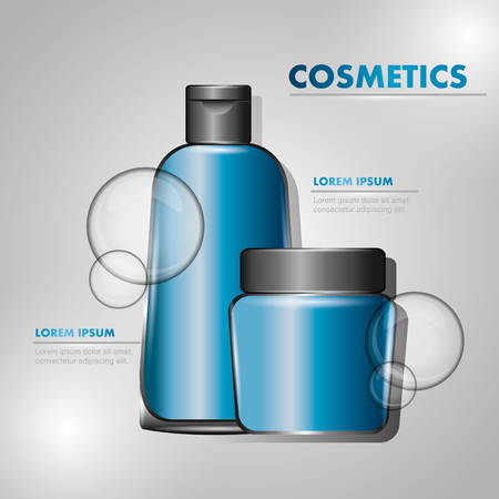 cosmetics lotion cream powder package gray background vector illustration Illustration