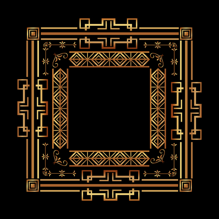 elegant antiquarian frame in art deco style filigree ornament vector illustration  イラスト・ベクター素材