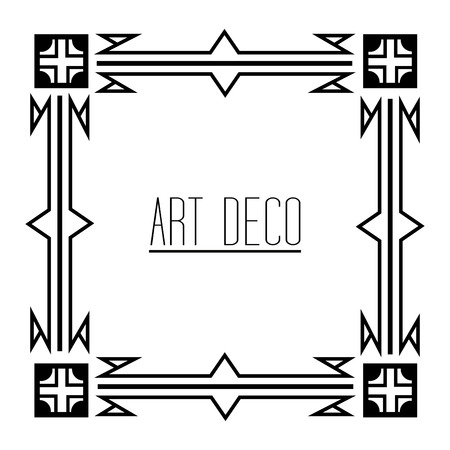 elegant antiquarian frame in art deco style filigree ornament vector illustration Foto de archivo - 101532537