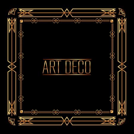 elegant antiquarian frame in art deco style filigree ornament vector illustration Иллюстрация