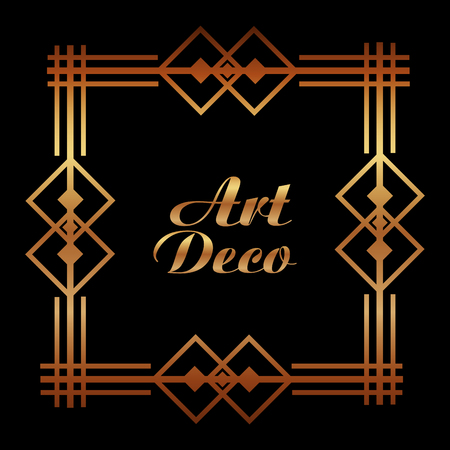 art deco floral cover frame victorian retro style vector illustration