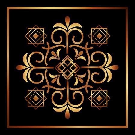 decorative swirl frame luxury golden flourishes vector illustration