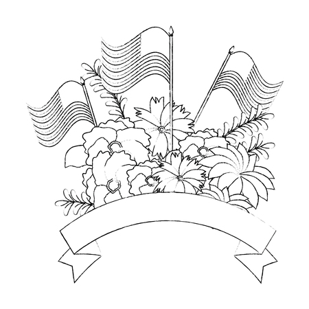 floral decoration with usa flags frame vector illustration design Illustration
