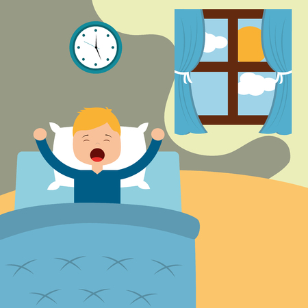 Vector illustration of Little boy waking up in a bed on white background vector illustration Ilustração