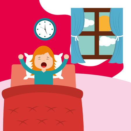 little girl wake up on bed in the morning vector illustration