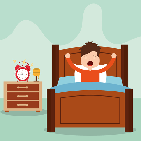 Vector illustration of Little boy waking up in a bed on white background vector illustration Illustration
