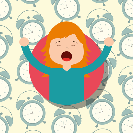 girl in pajamas yawning and stretching clocks background vector illustration Archivio Fotografico - 101532582