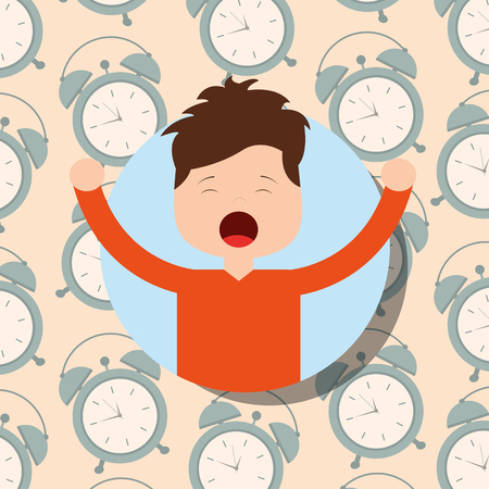 boy in pajamas yawning and stretching clocks background vector illustration Иллюстрация