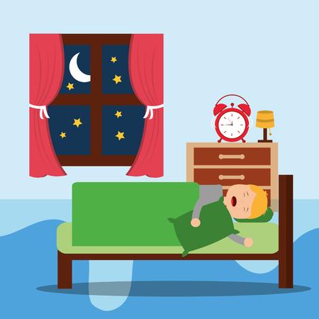 A Little boy sleeps in the night. vector illustration