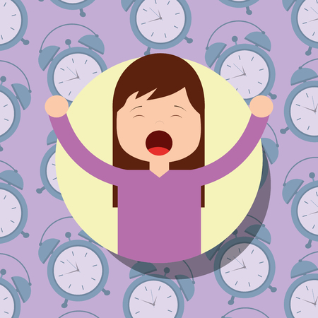 girl in pajamas yawning and stretching clocks background vector illustration Archivio Fotografico - 101532588