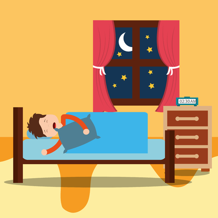 A Little boy sleeps in the night. vector illustration
