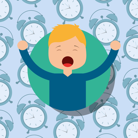 boy in pajamas yawning and stretching clocks background vector illustration Illustration