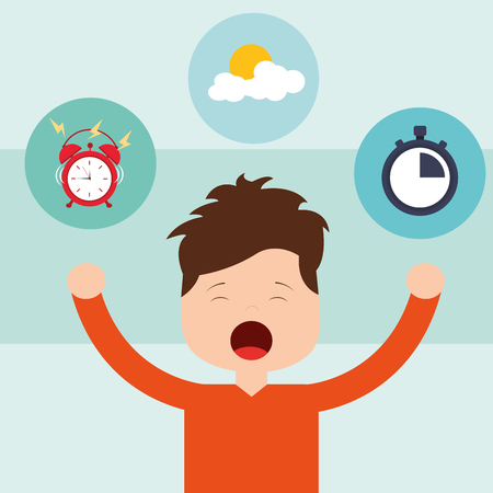 young boy waking up and yawning vector illustration