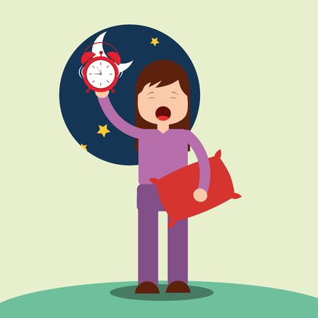 girl waking up holding pillow and clock vector illustration