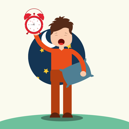 young boy waking up holding pillow and clock vector illustration