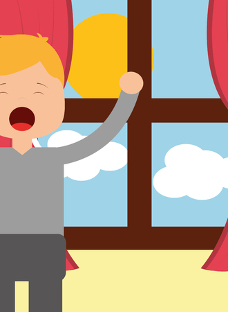 boy waking up and stertching near window morning vector illustration Ilustração