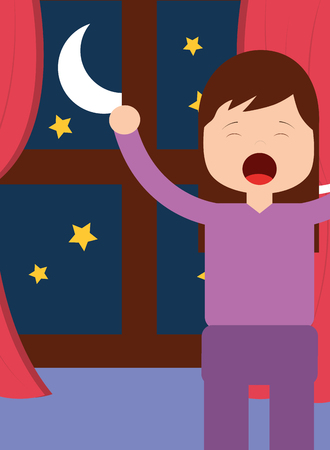 young girl waking up and stertching near window night vector illustration