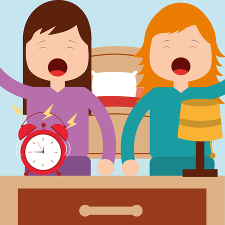 girls waking up with bed clock lamp in room vector illustration Illustration