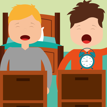 two boy waking up with bed clock in room vector illustration