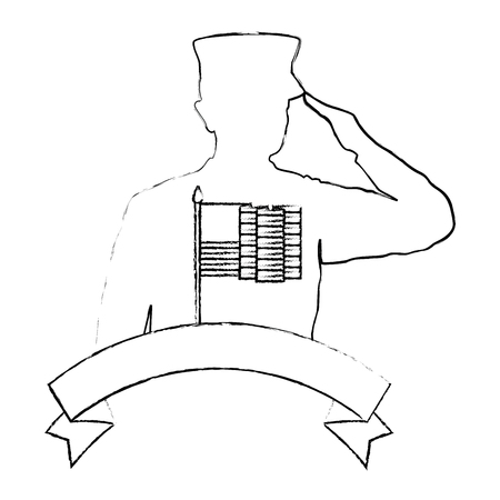 silhouette of military saluting with USA flag vector illustration design Stock Vector - 101532606