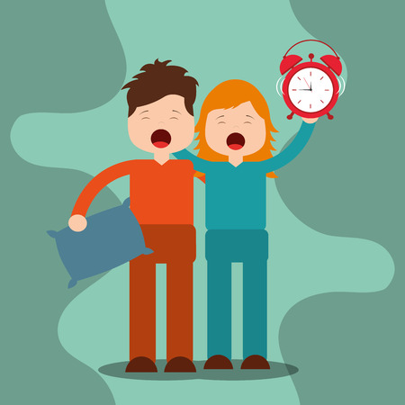 young boy and girl waking up holding pillow and clock vector illustration