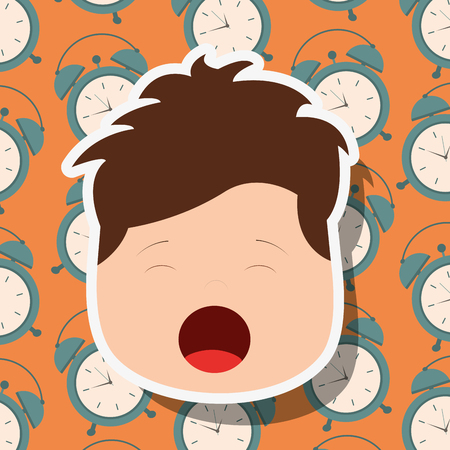 young boy face yawning clocks background vector illustration Archivio Fotografico - 101532612