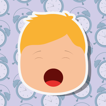young boy face yawning clocks background vector illustration