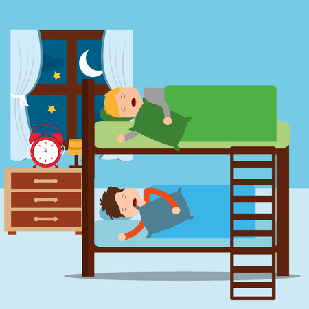 boys asleep in bunk bed in night bedroom vector illustration
