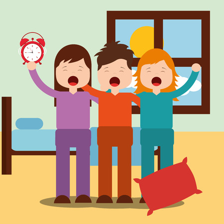 cute boy and girls waking up hugging in bedroom vector illustration