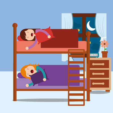 young girls asleep in bunk bed in night bedroom vector illustration