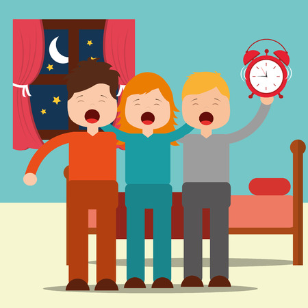 cute boys and girl waking up hugging in bedroom vector illustration Foto de archivo - 101532618