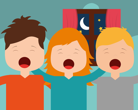 cute boys and girl waking up hugging in bedroom vector illustration Foto de archivo - 101532619
