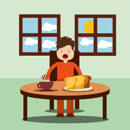 boy happy to eat breakfast in the morning vector illustration