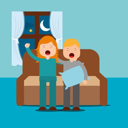 boy and girl yawning with sleep sitting on the sofa vector illustration Archivio Fotografico - 101532627