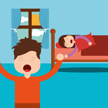 boy standing and girl asleep in bed vector illustration