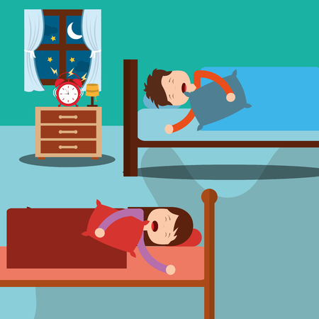 bedroom with kids sleeping in beds room bedside and clock vector illustration