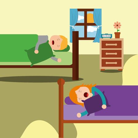bedroom with kids sleeping in beds room bedside and flower vector illustration