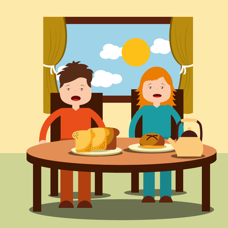 Two children, a girl and a boy enjoy their healthy breakfast of cereal, milk, juice, and fruits. vector illustration Foto de archivo - 101532744