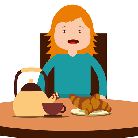 young happy girl sitting eating breakfast on table vector illustration Illustration