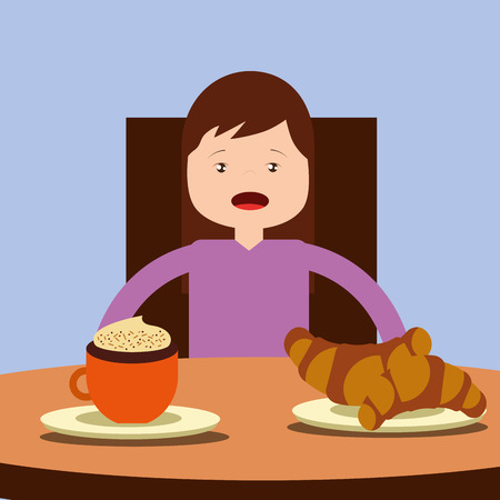 young happy girl sitting eating breakfast on table vector illustration Foto de archivo - 101532648