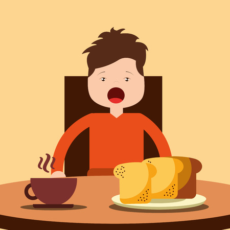 young happy boy sitting eating breakfast on table vector illustration