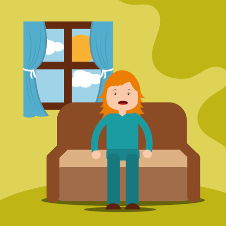 young girl yawning sitting on sofa vector illustration